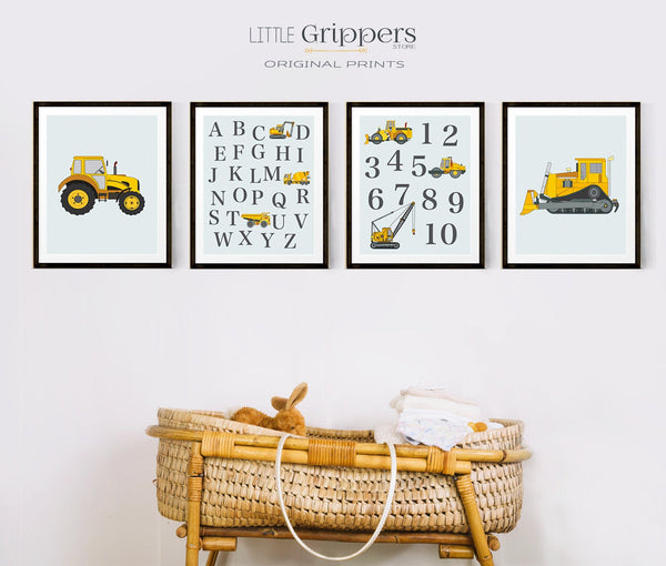 Nursery alphabet truck print set