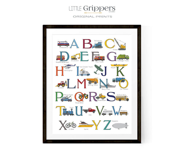 Transportation alphabet poster for kids