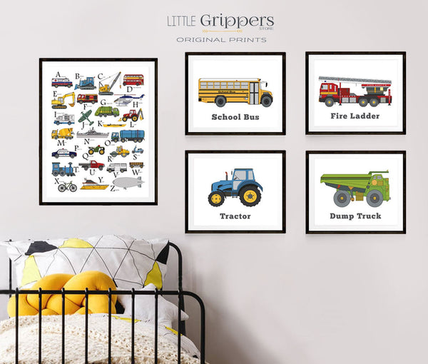 Boys alphabet transportation print set