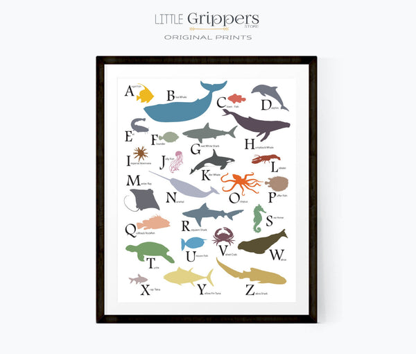 Sea animal nursery alphabet print