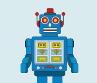 Printable Retro Blue Robot Print