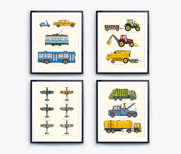 Transportation vehicles chart set