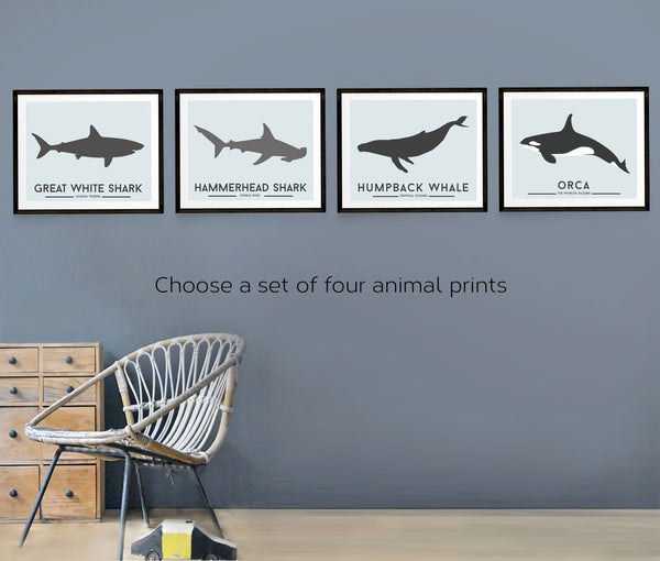 Animal wall art, set of four prints