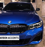 3 Series - G20: Gloss Black Diamond Style Grills - Carbon Accents