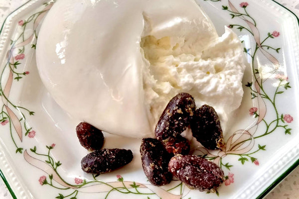 Burrata Cheese Paired with Sweet Herb Cacao Beans