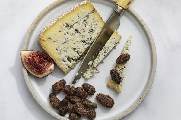 Creamy Blue Cheese with Lightly Caramelized, Cinnamon-Spiced Cacao Beans and Fresh Figs