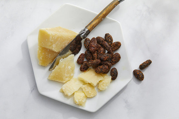 Parmigiano-Reggiano Cheese with Lightly Caramelized, Citrus and Chili-Spiced Cacao Beans
