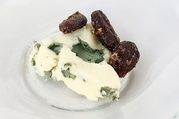 Roquefort Cheese paired with Good King Joy Herb Cacao Beans