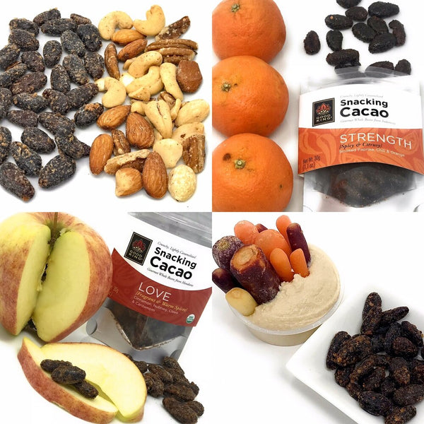 Snacking Cacao compared to other Healthy Snacks - Mixed Nuts, Cuties, Apple, Carrots and Hummus
