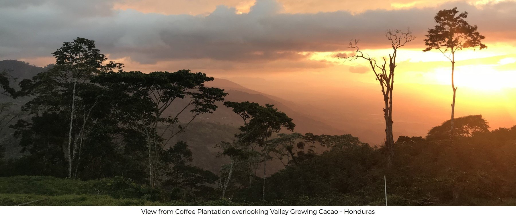 Sunset from Coffee Farm overlooking Valley farming Cacao Honduras