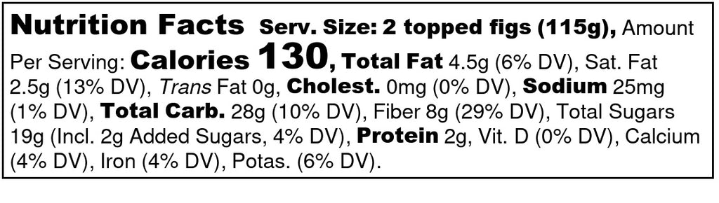 Fresh Ripe Figs Topped with Cinnamon-Spiced Caramelized Cacao Beans Nutrition Facts