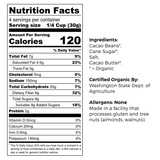 Good King Organic Snacking Cacao Harmony 65% Cacao Content Nutrition and Ingredients Label
