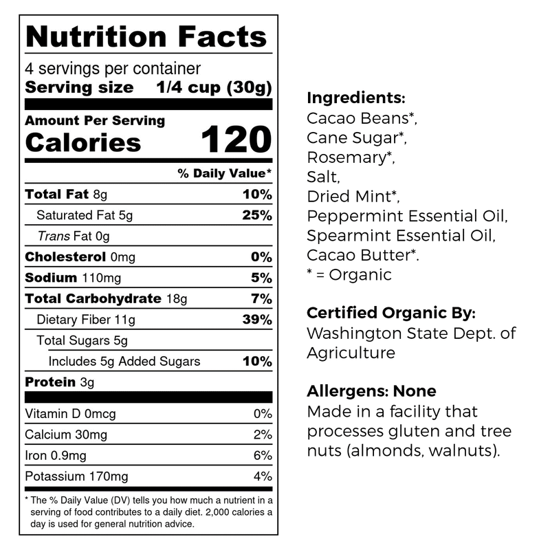 Good King Joy Organic Snacking Cacao - Mint, Rosemary and Sea Salt Nutrition and Ingredients Label