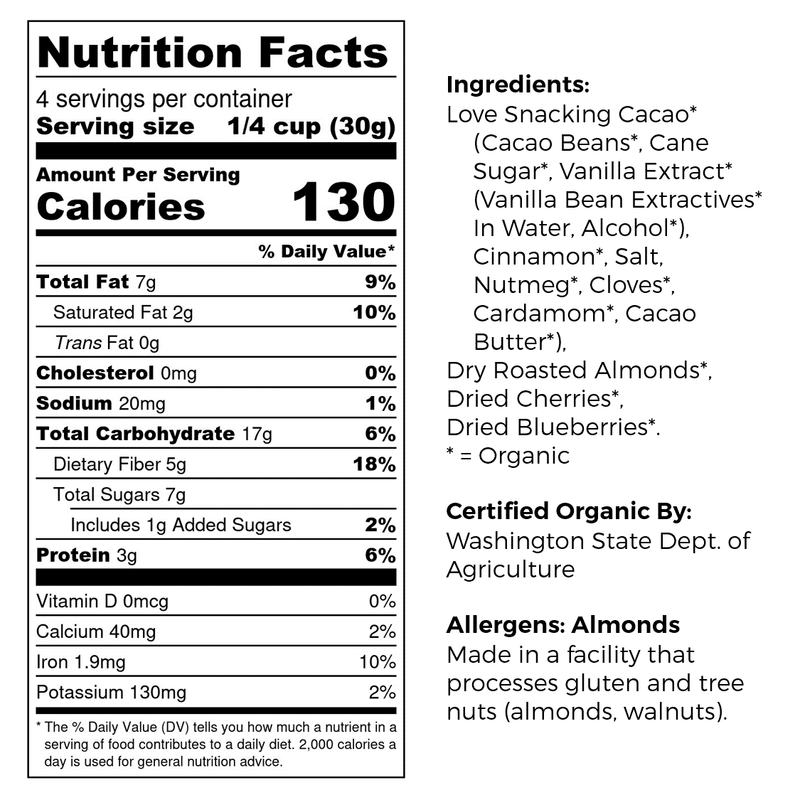 Good King Organic Cacao Snack Mix Nutrition and Ingredients Label