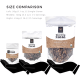 Good King Sweet & Salty Snacking Cacao - Harmony 65% Size Comparison - Single Serve, 120g Bag (4 servings) and 1 Pound Bag (15 servings)