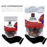 Good King Organic Cacao Snack Mix Size Comparison - 120g (4 servings) and 1 Pound Bag (15 Servings)