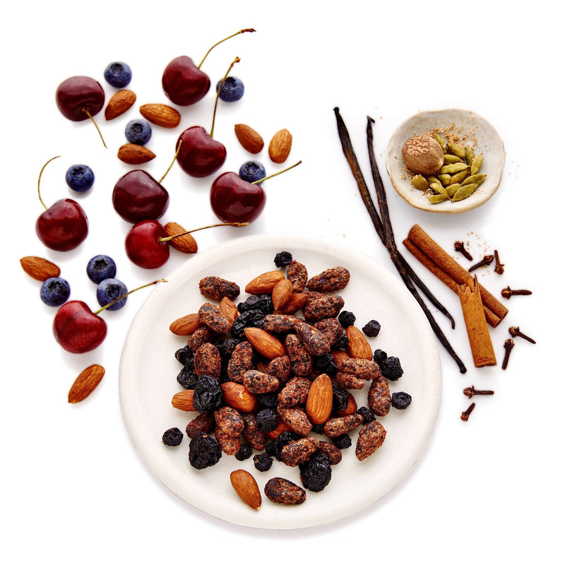 Good King Organic Cacao Snack Mix Love Blend Ingredients - Cherries, Almonds, Blueberries and Cinnamon-Spiced Caramelized Cacao Beans