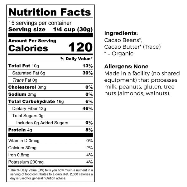 Cacao Beans Nutrition Facts - Whole, Peeled, Fermented and Roasted by Cocoa Future, SPC and Good Kin