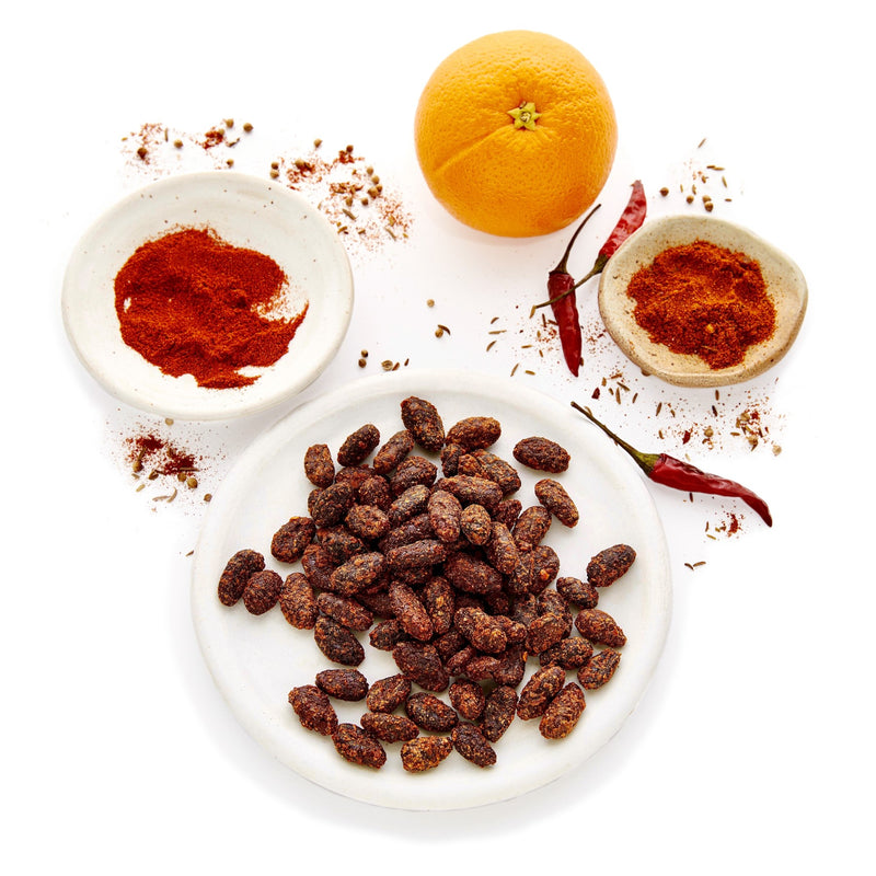 Good King Strength Flavor - Gourmet Whole, Peeled, Cacao Beans lightly caramelized with smoked paprika, cayenne and orange