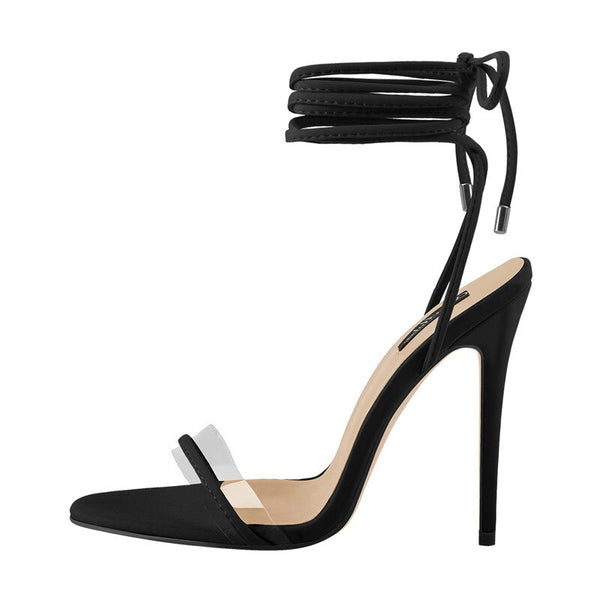 Ankle Strap Lace Up Clear Band Sandals - Classy Ladi Couture