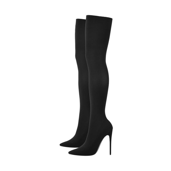 Pointy Toe Stiletto Stretch Sock Boots - Classy Ladi Couture