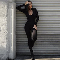 Solid Stretchy Bodycon Jumpsuit - Classy Ladi Couture