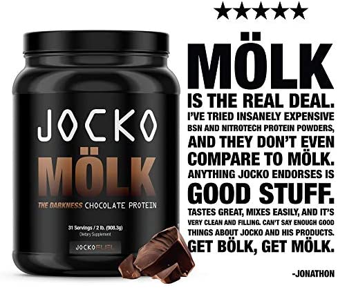 Jocko Mölk - 100% Grass-Fed Whey Isolate Protein Powder - Chocolate Peanut Butter Flavor - Sugar-Free Monkfruit Blend - Amino Acids and Probiotics - 31 Servings - 2 Pounds