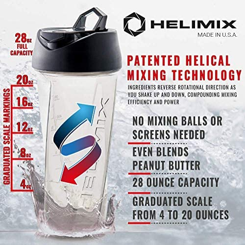 Helimix Vortex Blender Shaker Bottle 28oz | No Blending Ball or Whisk Needed | USA Made | Portable Pre Workout Whey Protein Drink Shaker Cup