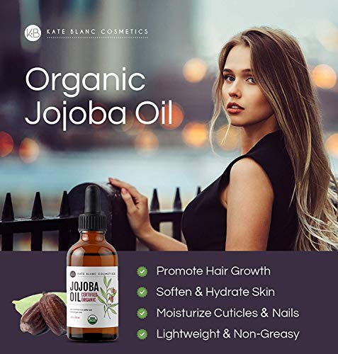 Jojoba Oil, USDA Certified Organic, 100% Pure, Cold Pressed, Unrefined. Effective Treatment for Face, Lips, Cuticles, Stretch Marks. (4 oz)