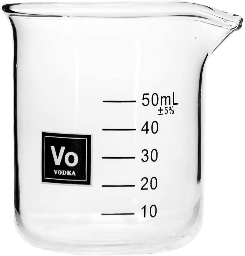 Drink Periodically Set of 3 Lab Beaker Shot Glasses with Periodic Table Vodka Element Square