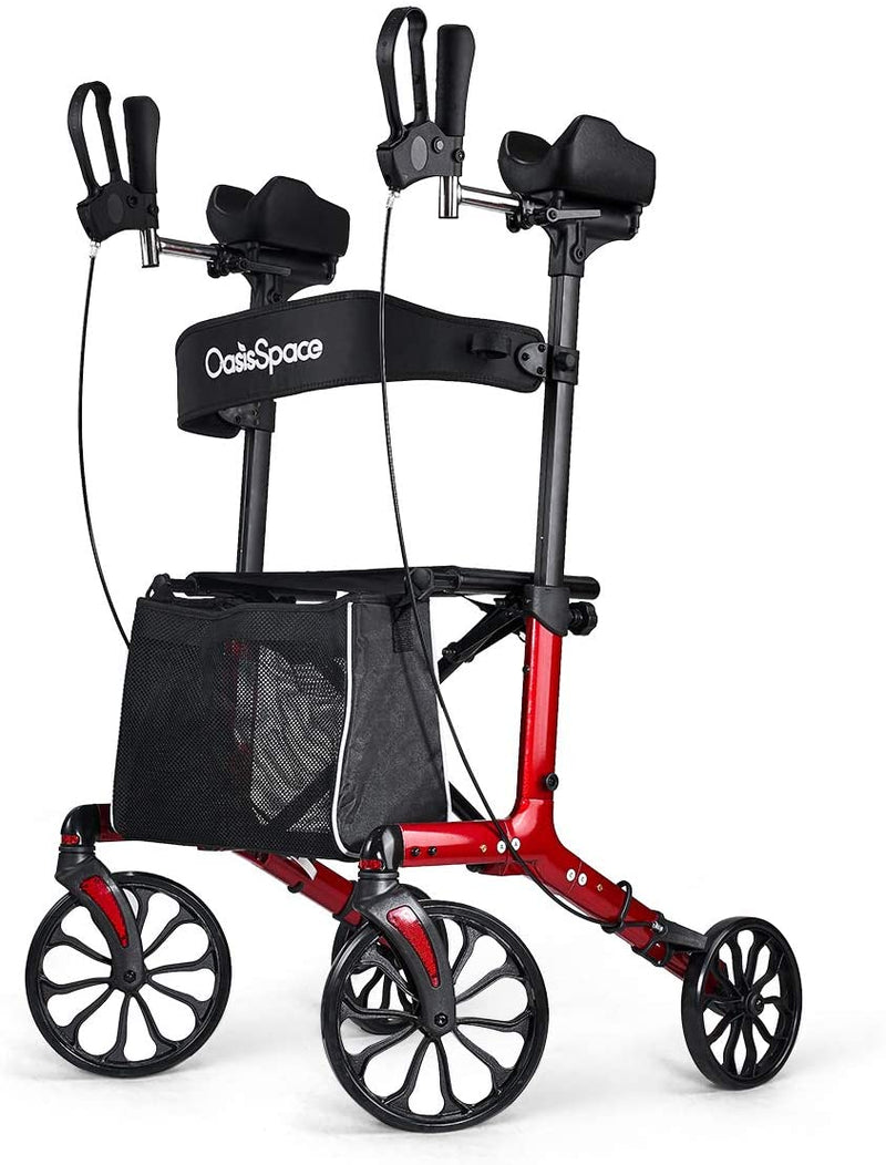 OasisSpace Fashion Upright Rollator Walker - Armrest Rollator Walker with Seat, Large Wheel Walker for Senior