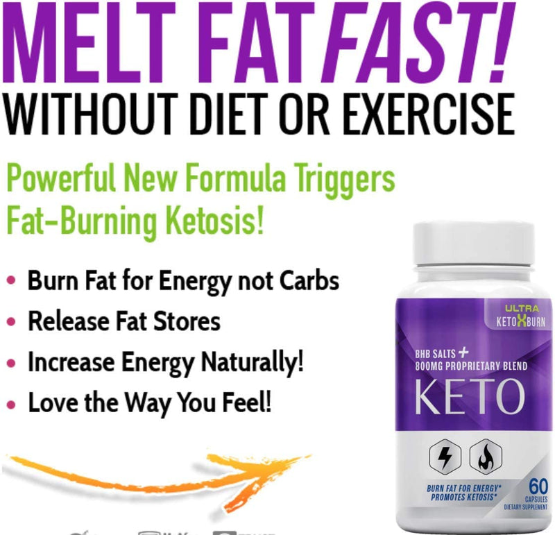 Ultra Keto X Burn, Advanced Weight Loss Diet, Ultra Keto X Burn Max Tablets Pills 800 mg, Pure Keto Fast Supplement for Energy, Focus - Exogenous Ketones for Men Women, Keto BHB para Bajar de Peso