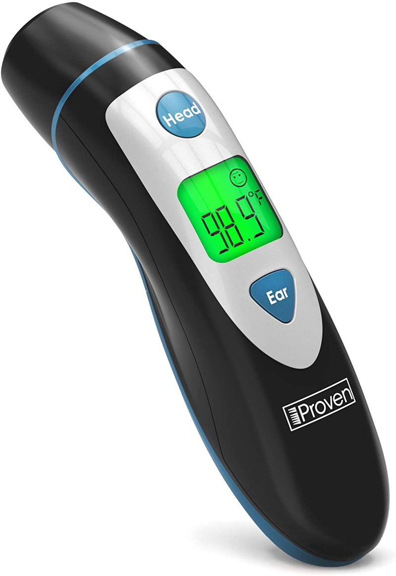 iProven Thermometer for Fever - Forehead and Ear Thermometer - with Fever Alarm - Pouch and Batteries Included - Thermometer DMT-489Black