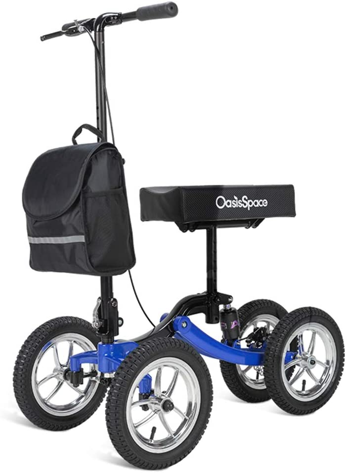 OasisSpace Shock Absorber All Terrain Knee Walker Scooter-with 12 Inches Durable Air Filled Wheels, Foot Injuries Ankles Surgery (Blue)