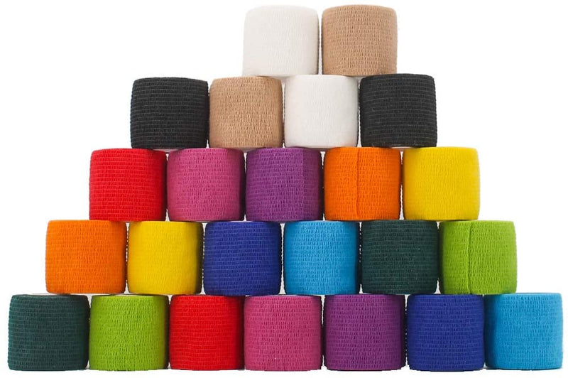 24 Pack Breathable Self Adherent Wrap, Athletic Elastic Non Woven Cohesive Bandage – for Sports, First Aid Medical, Wrist, Ankle Sprains, Swelling and Vet Wrap 2 Inch 5 Yards (Rainbow Color).