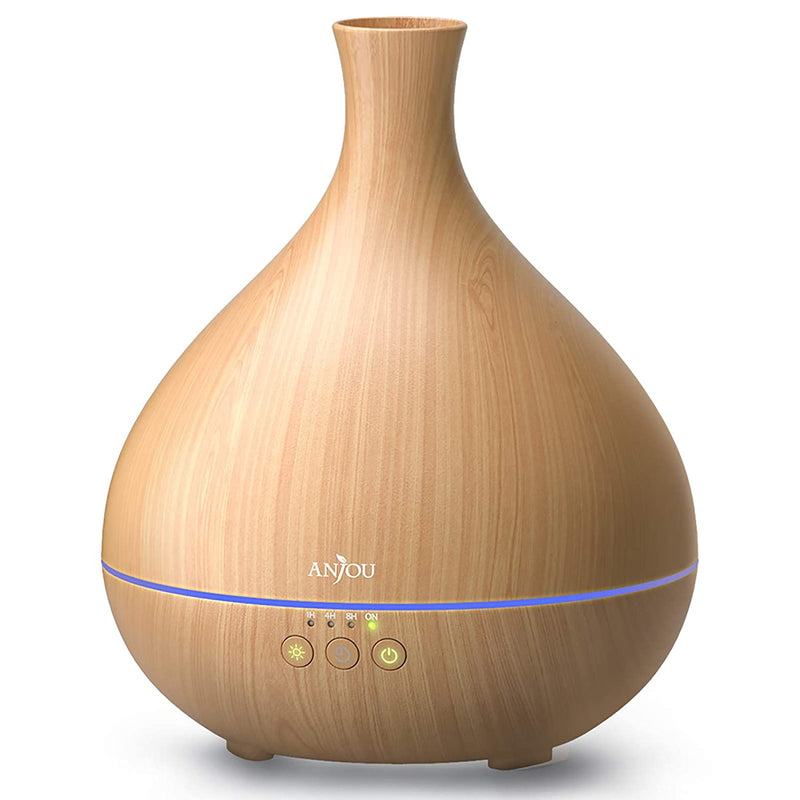 500ml Cool Mist Humidifier Wood Grain Aromatherapy Diffuser with 7 Color Changing Night for 12hrs of Continuous Quiet Diffuse Aroma