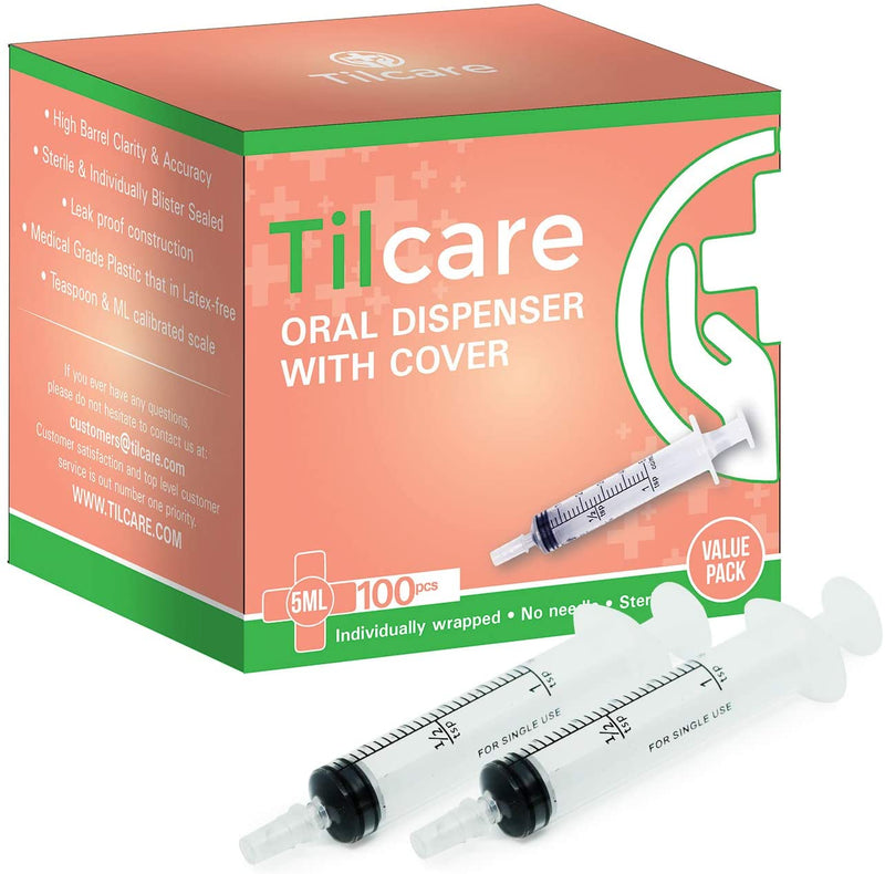 5ml Oral Dispenser Syringe with Cover 100 Pack by Tilcare - Sterile Plastic Medicine Droppers for Children, Pets & Adults