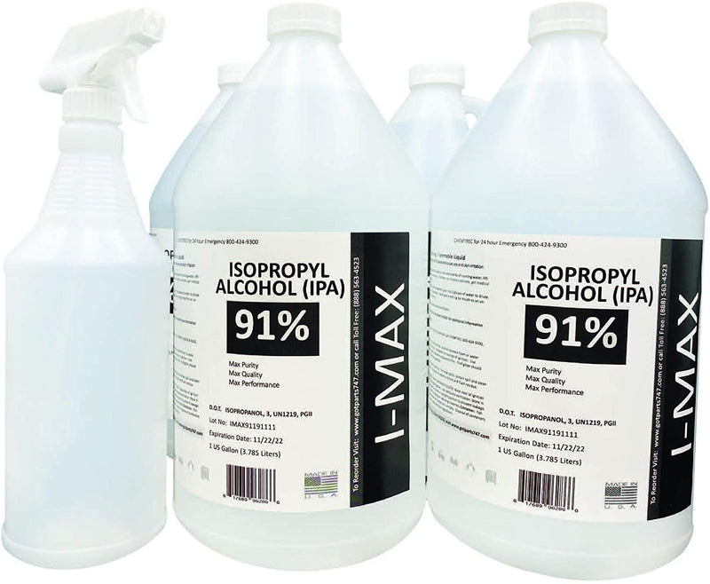 Isopropyl Alcohol - IPA 91% (4-1 Gallon) Disinfectant Alcohol - Made in USA - Includes an Empty Trigger Spray Bottle
