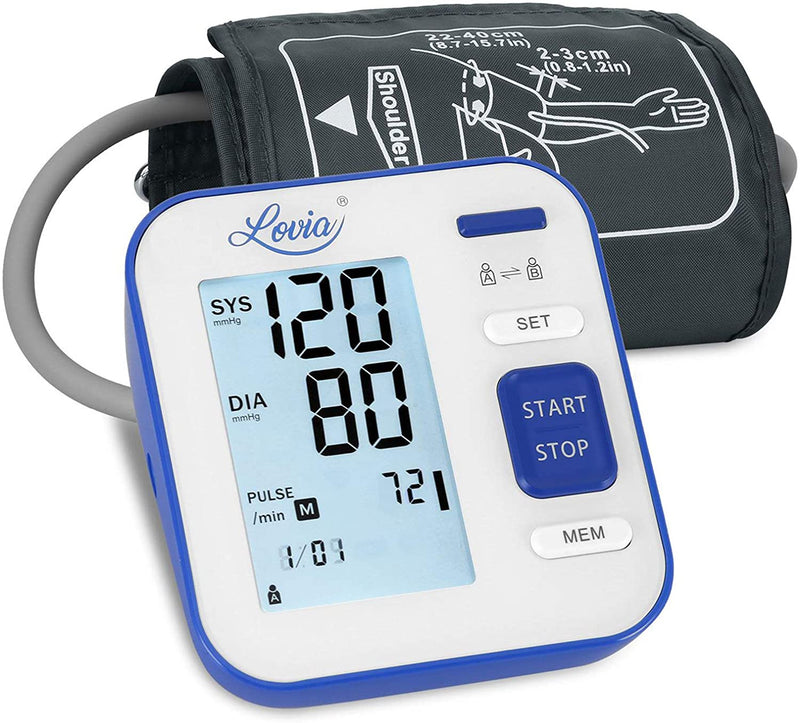 Lovia B02 Blood Pressure Monitor Upper Arm for Home Use, Blue/White