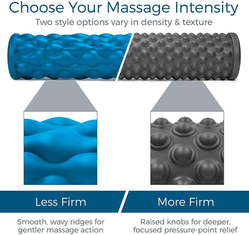 Teeter Massage Foam Roller Bundle - Textured for Deep Tissue Muscle Relief to Boost Recovery, Flexibility, Mobility - Back Pain Relief, Sports Massage