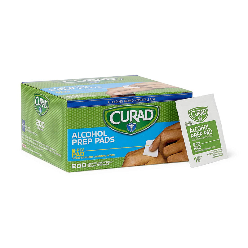 Curad Alcohol Prep Pads, 70% Alcohol, 1000 Count (5 Boxes 200 CT/EA)