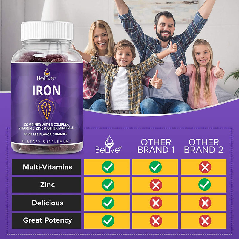 Iron Gummies with Vitamin C & A, Vitamins B Complex, Zinc, Multivitamin for Kids and Adults - Ideal for Sensitive Stomachs - Non-Constipating - 60 Vegan Chewable Gummy