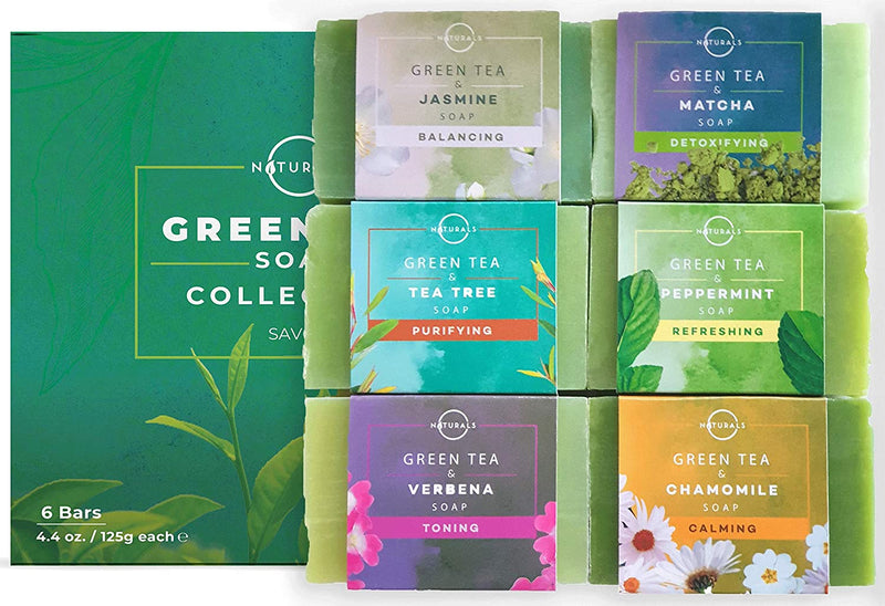 O Naturals 6-Piece Green Tea Herbal Essential oils Bar Soap Collection Moisturizing Face & Body Cleanser Anti Acne Aromatherapy Gift Set Vegan Organic Ingredients Shea Butter Enriched. Men & Women 4oz