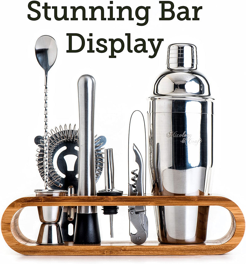 Mixology Bartender Kit: 10-Piece Bar Tool Set with Stylish Bamboo Stand | Perfect Home Bartending Kit and Martini Cocktail Shaker Set (Silver)