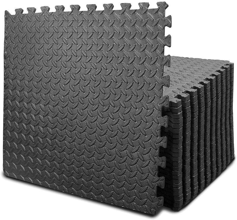Puzzle Exercise Mat with 12/24 Tiles Interlocking Foam Gym Mats, 24'' x 24'' EVA Foam Floor Tiles, Protective Flooring Mats Interlocking for Gym Equipment