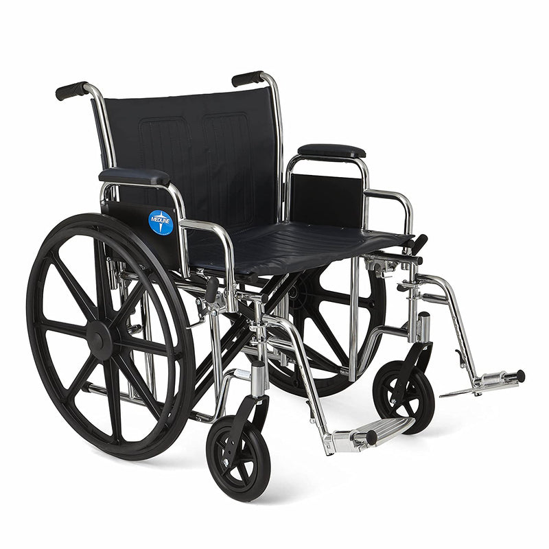 "Medline MDS806900 Excel Extra-Wide Bariatric Wheelchair, 24"" Wide Seat, Desk-Length Removable Arms, Swing Away Footrests, Chrome Frame"