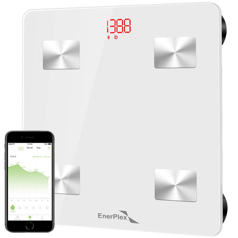 EnerPlex Fit 2020 Model Bluetooth Body Fat Scale, 396 lbs White