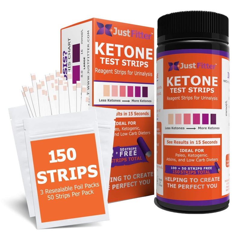 Ketone Keto Urine 150 Test Strips. 3 Resealable Foil Packs of 50 Strips Each.