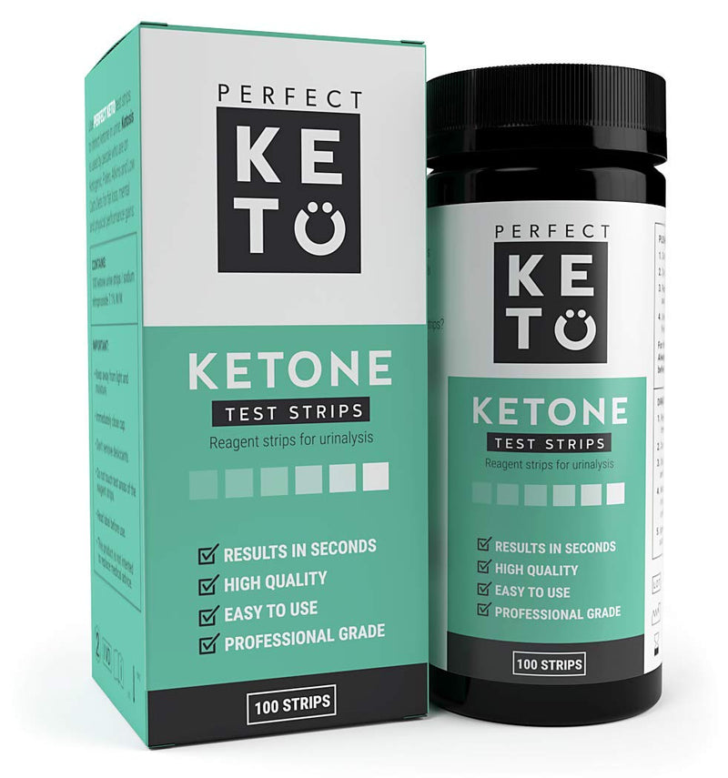 Perfect Keto Ketone Testing Strips: Test Ketosis Levels on Low Carb Ketogenic Diet, 100 Urinalysis Tester Strips