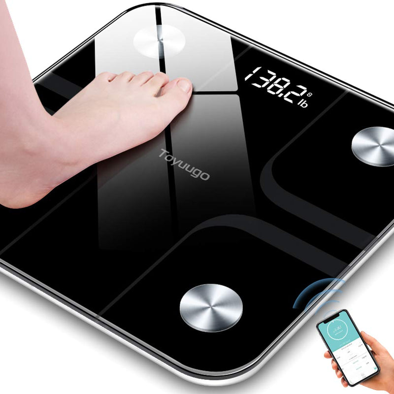 Toyuugo Bluetooth Body Fat Bathroom Scale, Wireless BMI with Smart Phone App Scales,396 Pounds / 180kg Max (Black)